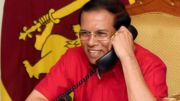 sri-lanka-president-maithripala-sirisena-is-on-telephone-conversation