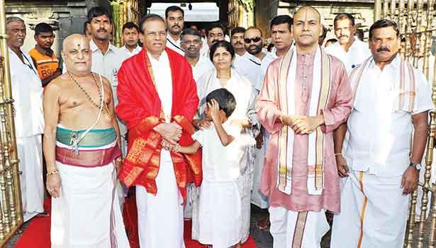 201904171129455399_Srilanka-president-sirisena-swami-darshan-at-tirupati_SECVPF